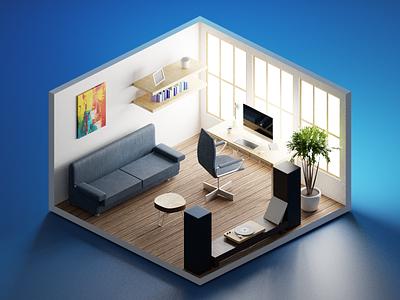 Low-poly room polygonrunway illustrations illustration low-poly 3d blender