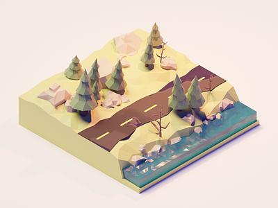road illustration blender3d polygonrunway low-poly blender 3d