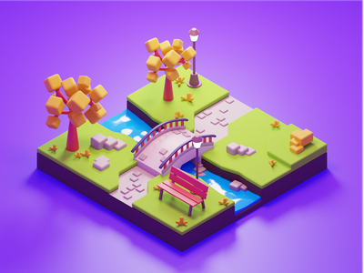 Playful park blender3d low-poly blender 3d
