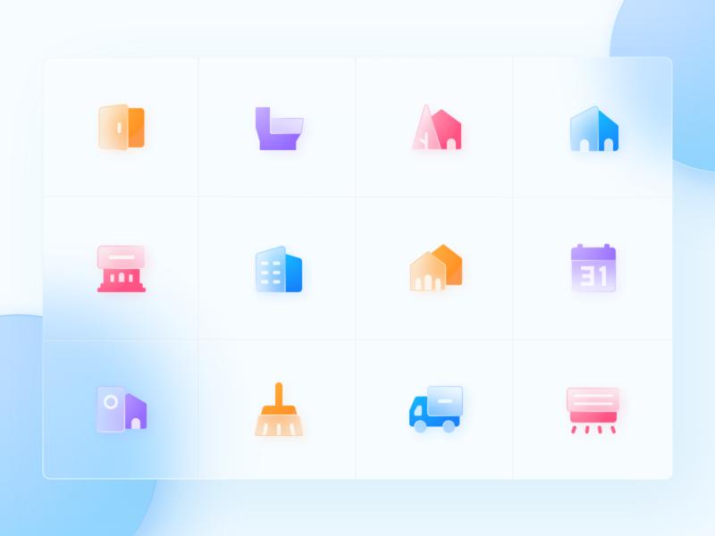 Hazy Icons design calendar toilet door car house winter app icon ui flat clean