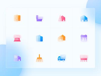Ziroom Icons design calendar toilet door car house winter app icon ui flat clean