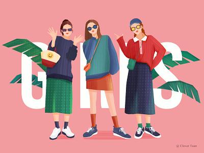 GIRLS drawing draw girl illustration