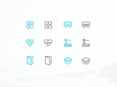 Several Icons for gym basic door condition air run heart gym icon