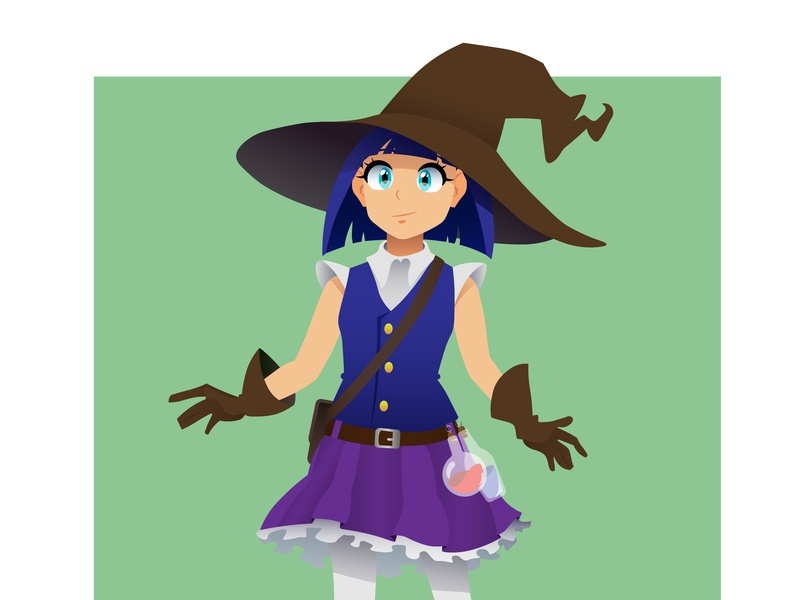 Little witch study vector art vector character design illustrator