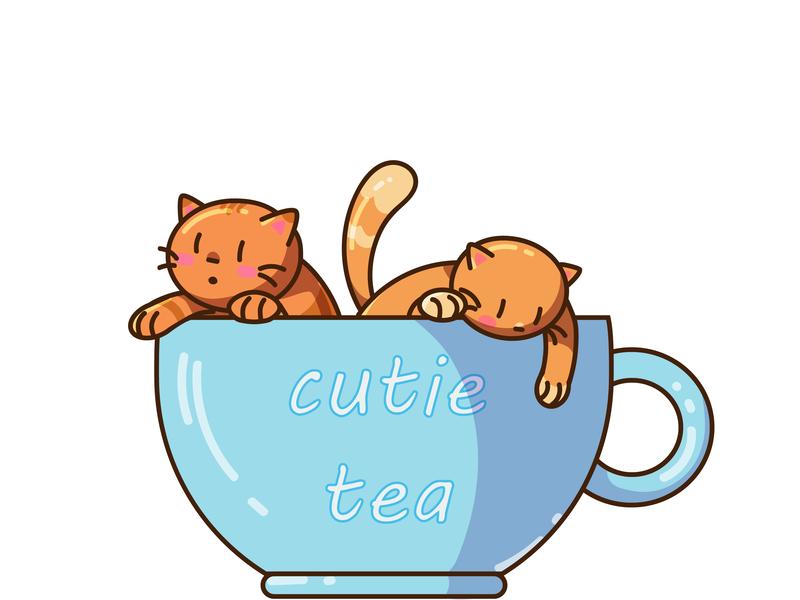 cutie tea animal illustrator cat cute study vector art