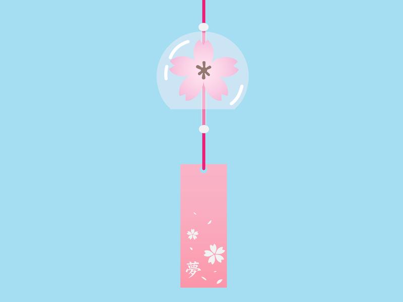 Furin bell sakura cute vector art vectorart study vector illustrator