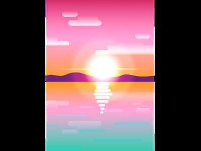 sunset studying sunset vectorart illustration design vector vector art study illustrator