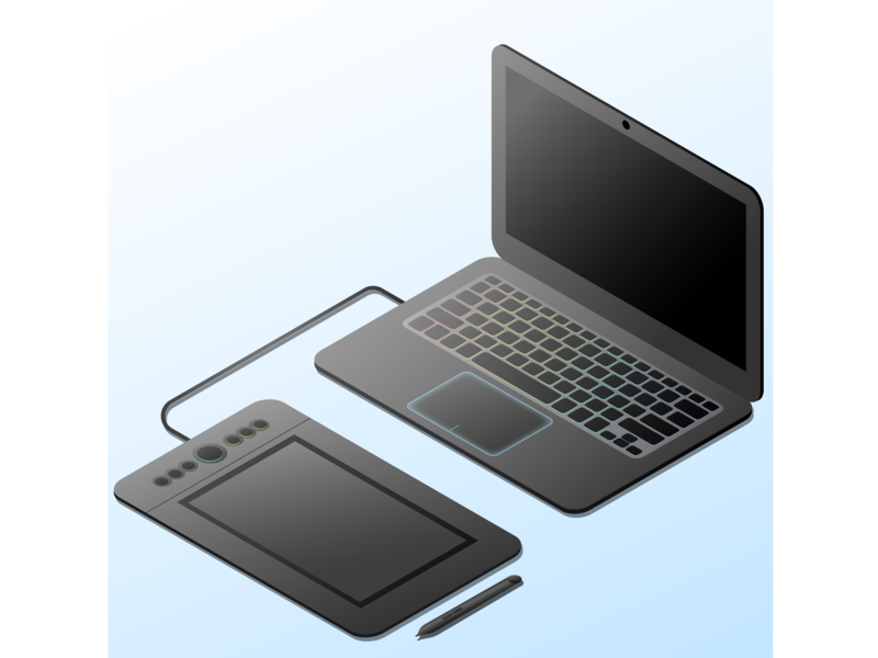 laptop and graphics tablet isometric graphic tablet laptop studying design illustration vector vector art study illustrator