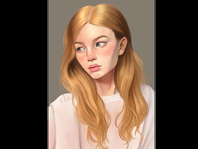 portrait of a girl art paint tool sai girl portrait illustration study