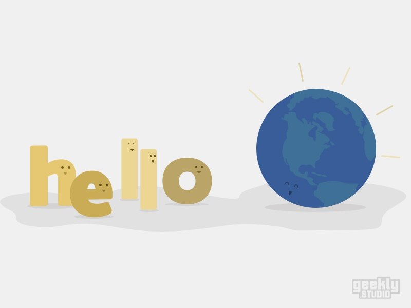 Hello World internet dev programming geek illustration draw typography fonts planet world hello