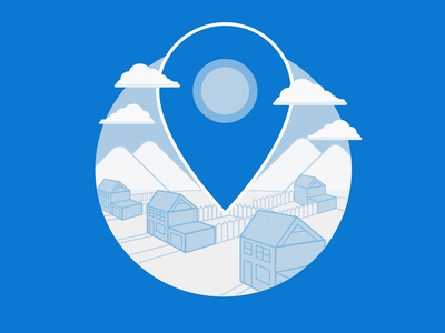 Empty State blue illustration geometric houses maps pins gps