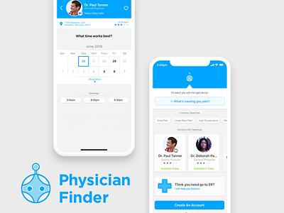 Physician Finder healthcare finder physician iphone xc robots branding app doctor finder