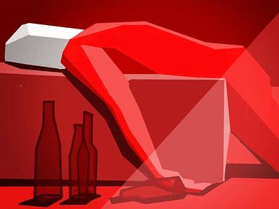 Drunk illustration,digita illustration,red,drink,art