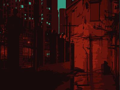 Red Alley design animation illustration