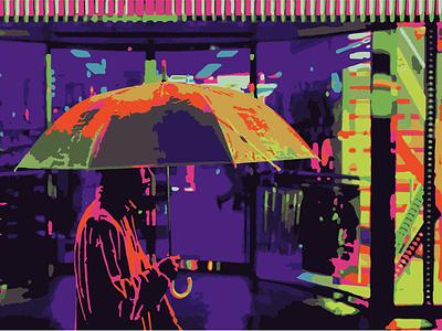 Rainy Day vector animation illustration