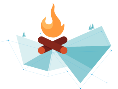 Spot illustration flat abstract bonfire illustration