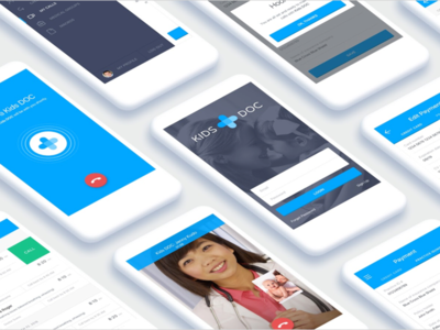 KidsDoc doctors medical app blue design ui ux freelance project web app mobile app