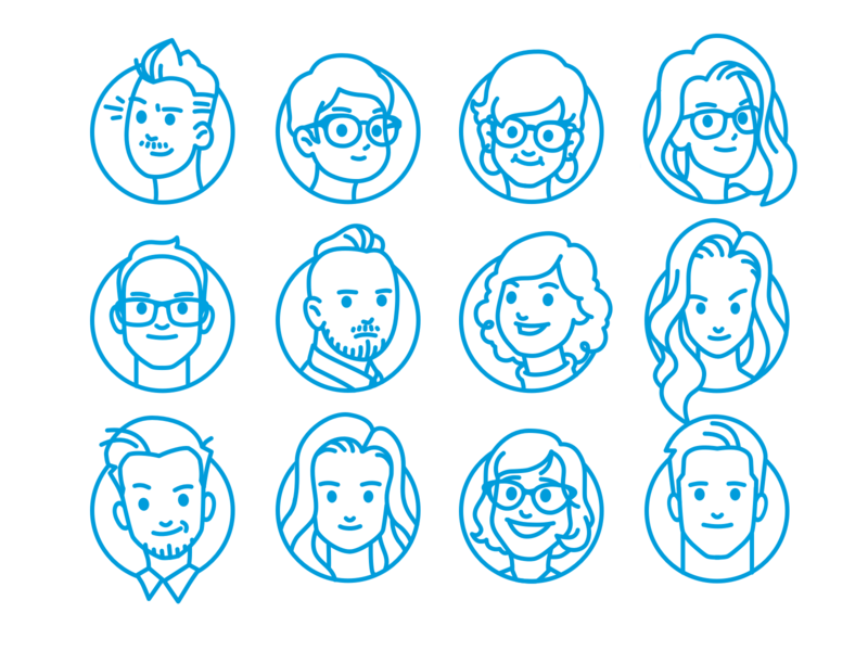 Salesforce SLDS Team Portraits illustration line art portraits team lightning design system slds salesforce