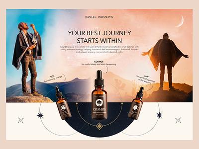 Soul Drop Product Page design ui mountains calm meditation drops product ui design landing figma