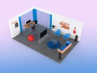Studio Apartmnet Isometric Render