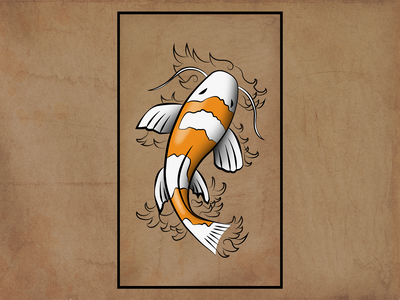 Koi Fish orange digital illustration waves photoshop noise texture koi fish koifish koi linework artist wacom digitalart artwork drawing japanese design illustrator art illustration