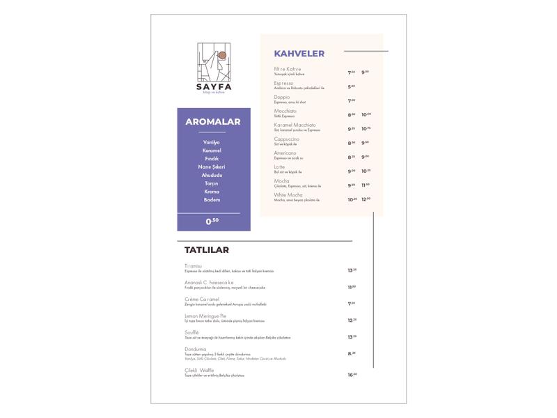 Sayfa Book & Coffee Menu