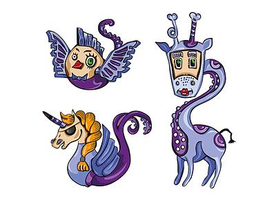 Trio digital vectors illustration drawing illustrator character design bird giraffe unicorn characters animals