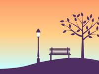 Park at sunset
