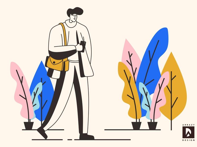 Man Line flat illustration design