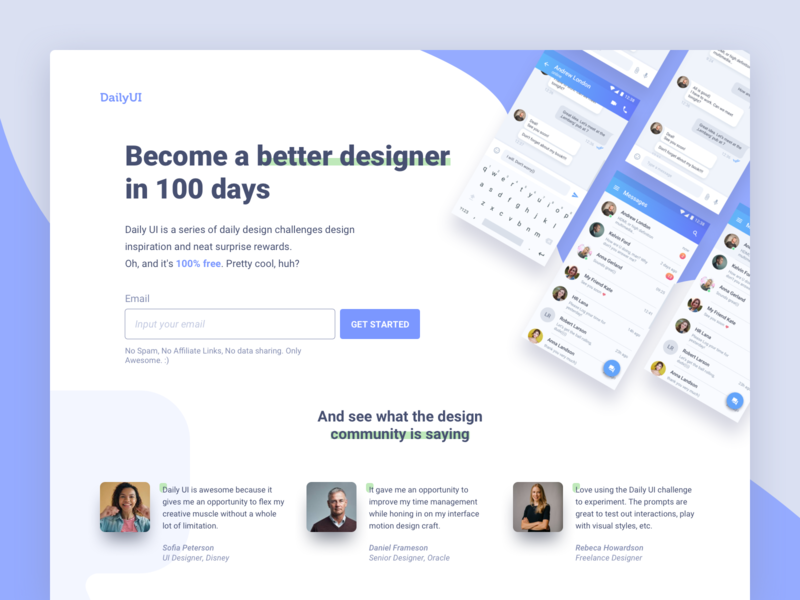 DailyUI Landing page:) e-learning clean web design ui