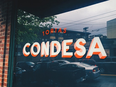 Tortas Condesa sign painting walk-up tortas