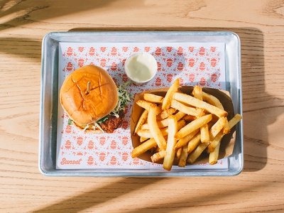 Sunset Fried Chicken Sandwiches sun ranch tray fast food restaurant fries chicken ☀️ plant shadow seattle food deep fried