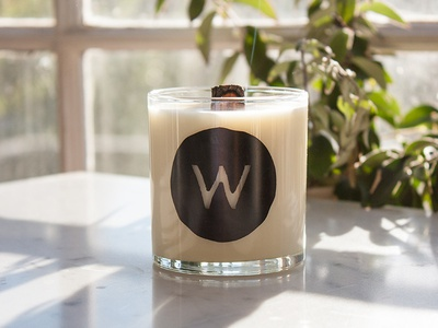 Woodsmen Candle essential oil light wick smell packaging scent lit fire branding candle
