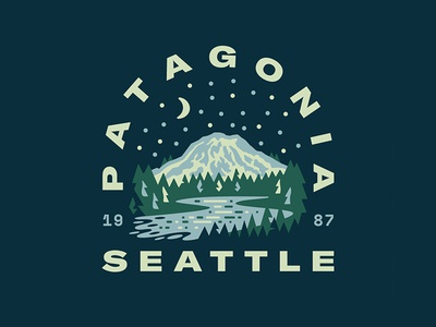 Patagonia Seattle gear local mountain river camping outside outdoors patch seattle camp mt. rainier patagonia