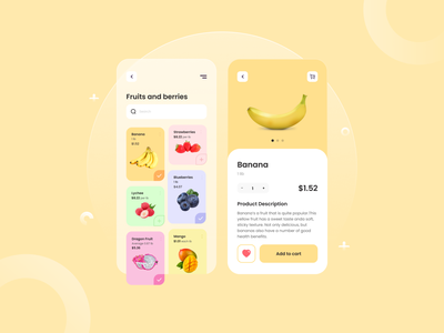 Fruits and Berries Shop - Mobile App shop fruit mobile app ui design