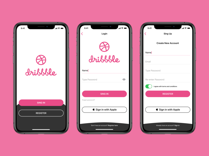Dribbble App Concept minimal welcome welcome screen application hello dribble registration design ios applicaiton onboarding signup signin login screen ios app design dribbble ux ui login app