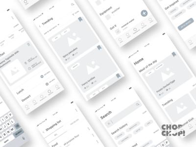 App wireframes - Chop Chop! app