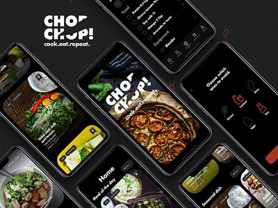 App wireframes - Chop Chop! app mobile flowchart user flow app food app recipes figma clean mockup wireframes ux