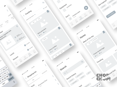 App wireframes - Chop Chop! app mobile flowchart user flow app food app recipes figma clean mockup wireframes ux