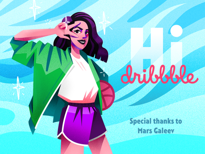 Hi Dribbble illustration