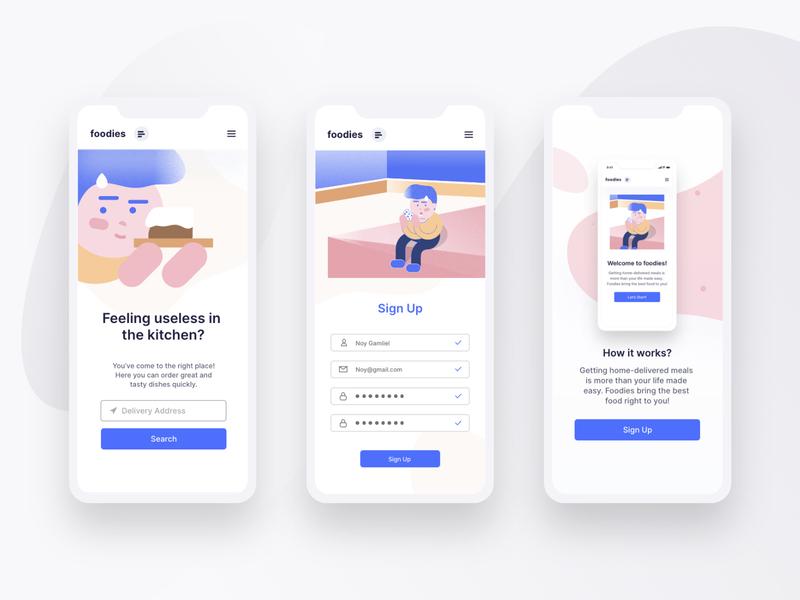 Foodies app web ui design illustration anima app