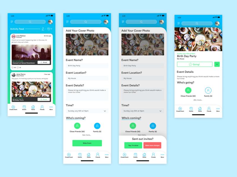 Rings: Event App ux clean branding ui