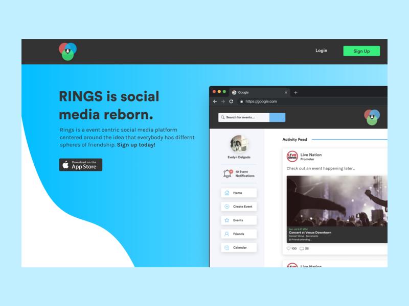 Rings Desktop: Landing Page design vector branding ui clean ux