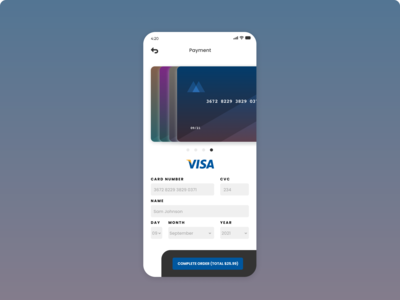 Daily UI: Day 2 Credit Card Payment Screen