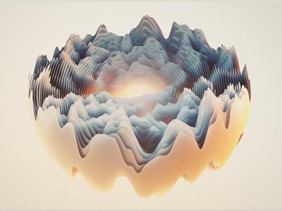 Waves cinema4d cinema 4d waves 3d c4d sunset distortion render octane