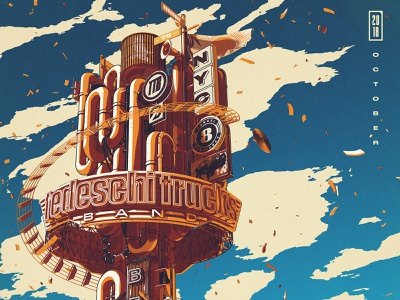 Beacon instruments clouds signs illustration cinema 4d c4d nyc music poster