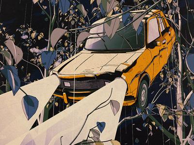 Day Tip night headlights cinema 4d c4d crash car forest trees
