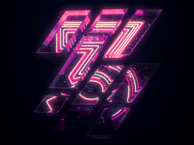 3 Number Loop 3d neon houdini c4d cinema 4d loop numbers typography type motion graphics motion design motion animation