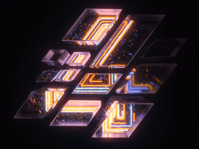 4 Number Loop four 3d neon houdini c4d cinema 4d loop numbers typography type motion graphics motion design motion animation