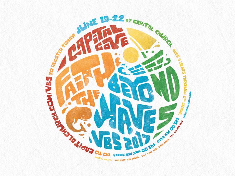VBS 2017, Capital Cove: Faith Beyond the Waves jonah church whale waves faith beach vbs kids logo design